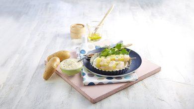 Photo de Brochettes de Saint-Jacques et mousseline de Pompadour Label Rouge aux algues