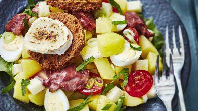 Photo de Salade de pommes de terre primeurs aux gésiers et fromages