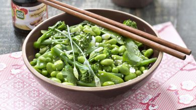 Photo de Salade de légumes verts, vinaigrette soja sésame