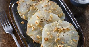 Carpaccio de céleri-rave cuit en croûte de Sel Le Guérandais