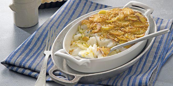 Gratin de pommes de terre Pompadour au cabillaud & aux pommes