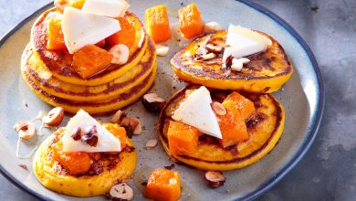 Photo de Petits pancakes à la courge butternut rôtie et Charolais AOP