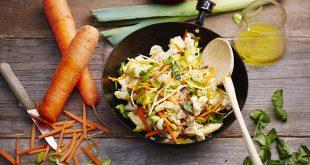 Wok de poulet sauté au soja, poireaux de Normandie, et ses carottes