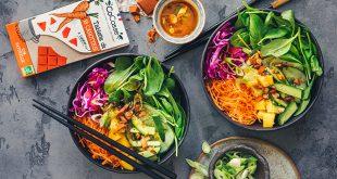Healthy bowl à la thaï, sauce épicée à la carotte