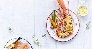 Gratin de homard au cidre, à l'Emmentaler® AOP Suisse et aux petits légumes de saison