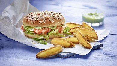 Photo de Burger aux crevettes et sauce Pesto accompagné de Côté Chef