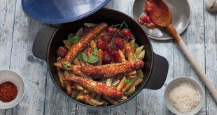 Penne aux maquereaux Arrabbiata et tomates cerises rôties