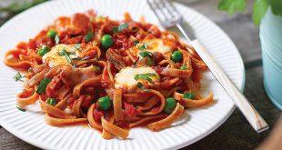 Fettucine aux petits pois, mozzarella et lard grillé, Sauce Romaine
