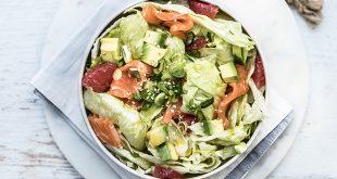 Salade Iceberg Florette® saumon, pamplemousse, oignons nouveaux et vinaigrette citron-curry