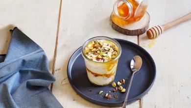 Photo de Verrines de yaourt au chèvre, pistaches et miel
