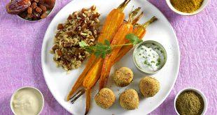 Céréales aux fruits secs, carottes rôties au cumin et falafels sauce tahin