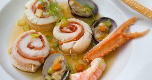 Médaillons de Merlan au bouillon de crustacés