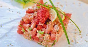 Tartare de saumon aux fraises de France