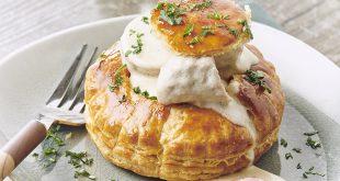Vol-au-vent, quenelles de veau, Saucisse de Montbéliard et crème de Soumaintrain