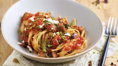 Photo de Linguine à la sauce tomate et aux aubergines