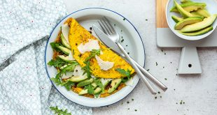 Omelettes à l'avocat, au Parmesan et aux herbes