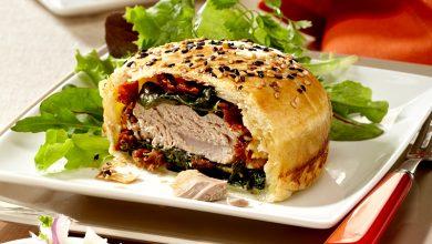 Photo de Burger de thon à la mozzarella et épinards