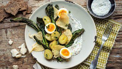 Photo de Salade de pommes de terre nouvelles, œufs durs et parmesan grillé
