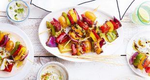 Brochettes de poivron, sauce au yaourt