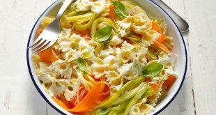 Pâtes crémeuses aux rubans de légumes