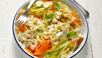 Photo de Pâtes crémeuses aux rubans de légumes