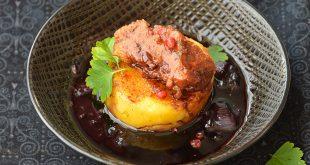Rondelles de polenta et seitan, sauce au vin rouge