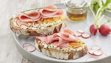 Photo de Tartines au jambon, ricotta, carotte et radis
