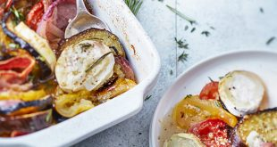 Tian d'aubergines, tomates, coppa et Chavroux®