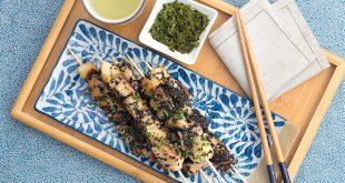Brochettes de thon aux poires, beurre sauce soja