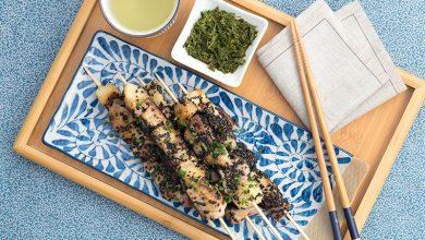 Photo de Brochettes de thon aux poires, beurre sauce soja