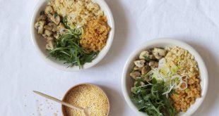 Buddha Bowl aux perles de blé et champignons