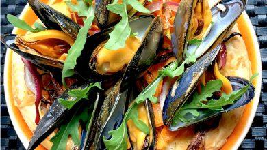 Photo de Pizza aux légumes et moules de bouchot de la Baie du Mont-Saint-Michel