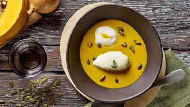 Photo de Velouté de potiron, crème de Chaource AOP, œuf poché et graines de courge