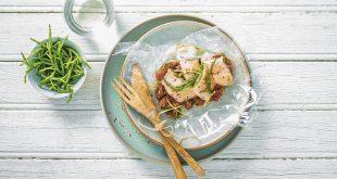 Papillote de truite façon marinière, salicornes et tomates confites