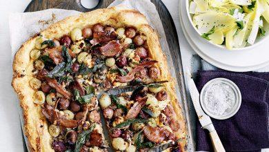 Photo de Pizza fromage de chèvre, lard et raisins de nos régions