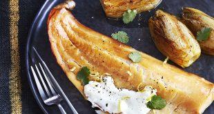 Haddock poché au lait, endives braisées à l'orange et sauce au yuzu