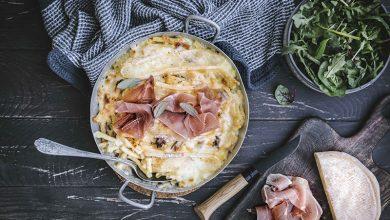 Photo de Mac and cheese façon tartiflette et jambon cru Aoste