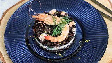 Photo de Médaillons de riz noir Vénéré aux crevettes et au crabe