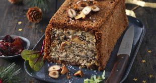 Terrine Végane aux girolles, noisettes, marrons et pain d'épices accompagnée d'un chutney de figues