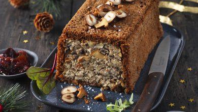 Photo de Terrine Végane aux girolles, noisettes, marrons et pain d'épices accompagnée d'un chutney de figues