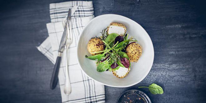 Cromesquis au St Môret®, salade d'hiver au vinaigre de framboise