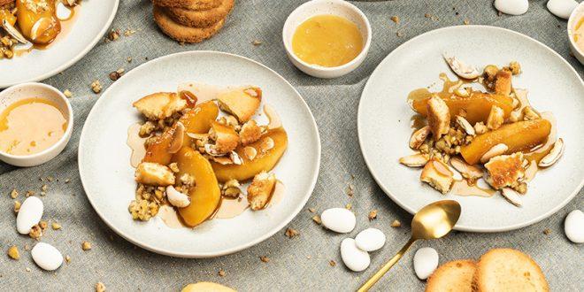 Pommes caramélisées, dragées, miel, châtaignes et biscuits bretons