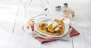 Tartelette de Ratte du Touquet aux échalotes, coppa et mimolette