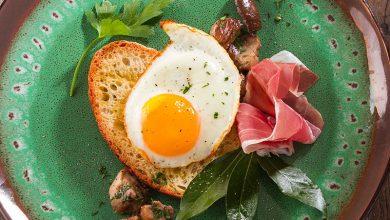 Photo de Tartines au Jambon de Parme, œufs au plat et cèpes