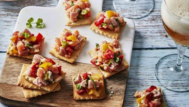 Photo de Ceviche de saumon et thon sur crackers
