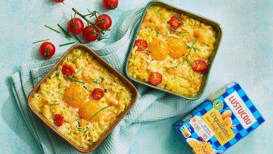 Photo de Petites cocottes Coquillettes, crevettes et crème curry ciboulette