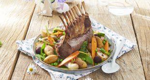Carré d'agneau, légumes printaniers et Ratte du Touquet
