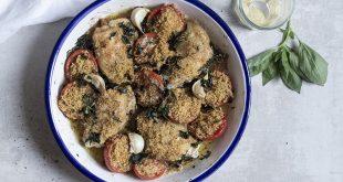 Poulet croustillant aux tomates confites à la chapelure
