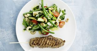 Côte de veau nappée au sésame et salade tiède de légumes croquants