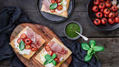 Photo de Focaccia aux tomates cerises et chiffonnade de jambon cru